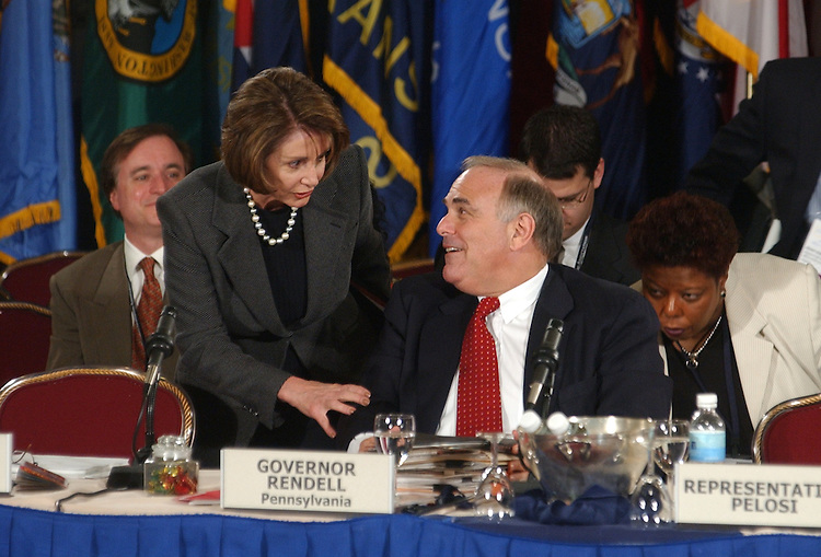 House Minority Leader Nancy Pelosi, R-Calif., greets Gov. Ed Rendell, D-Pa., after she gave a speech at the National Governors Association Winter Meeting.  Pelosi and fellow guest speaker Sen. Bill Frist, discussed critical state issues in the second session of the 108th Congress.