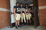 (L-R) Dayton Diemel (52), Zach Murphy (88), and Noah Turner (61) wait to take the field for warm-ups prior to the game against the Notre Dame Fighting Irish at BB&T Field on September 22, 2018 in Winston-Salem, North Carolina. The Fighting Irish defeated the Demon Deacons 56-27. (Brian Westerholt/Sports On Film)