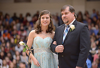 NWA Democrat-Gazette/BEN GOFF @NWABENGOFF<br /> Julie Bryson takes the floor on Friday Jan. 15, 2016 during Bentonville High's colors day ceremony at halftime in the boys basketball game against Springdale Har-Ber in Bentonville's Tiger Arena.