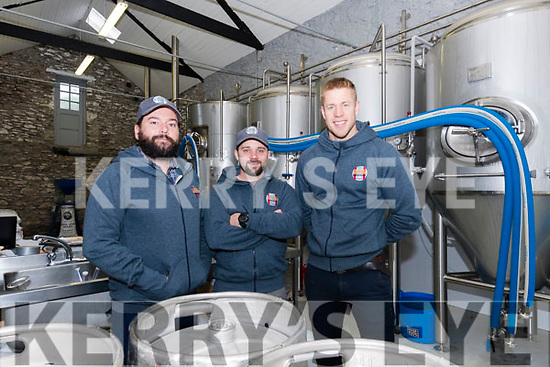 Aussie Barrett, brewer Graham Murray and Finn Mac Donnel from Dick Mack's Brewhouse, Dingle.