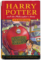 BNPS.co.uk (01202 558833)<br /> Pic: Bonhams/BNPS<br /> <br /> How's much Harry? Wizard price for first edition Potter. <br /> <br /> A Harry Potter first edition inscribed by JK Rowling to the first person 'to see merit' in the boy wizard has emerged for sale for £90,000.<br /> <br /> The author, then unknown and unpublished, sent a manuscript with the first three chapters of The Philosopher's Stone to literary agent Christopher Little in 1995.<br /> <br /> However, since the agent had not previously handled children's literature, it was destined for the bin.<br /> <br /> But office manager Byrony Evens, intrigued by the manuscript's distinctive black folder, picked it up from the pile and read through it. Captivated by its contents, she suggested to Little they request the rest of the story from Rowling.<br /> <br /> From there, the Harry Potter phenomenon was born which has spawned seven books, films and theme parks - giving Rowling an estimated net worth of £750million. Now, Evens is selling the first edition - of which just 500 were printed - with auctioneer Bonhams, of London.