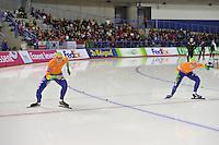 SCHAATSEN: CALGARY: Olympic Oval, 08-11-2013, Essent ISU World Cup, 500m, Margot Boer (NED), Thijsje Oenema (NED), ©foto Martin de Jong