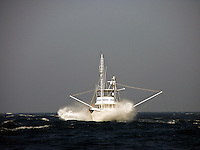 Nordhavn with fish down during 40 knot wind storm