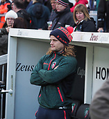 4th November 2017, Welford Road, Leicester, England; Anglo-Welsh Cup, Leicester Tigers versus Gloucester;  Tigers hooker Harry Thacker observes the team warm-up session