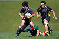 Action from the under-16 representative rugby match between Wellington Under-16A and Wairarapa Bush at Porirua Park in Wellington, New Zealand on Saturday, 21 September 2019. Photo: Dave Lintott / lintottphoto.co.nz