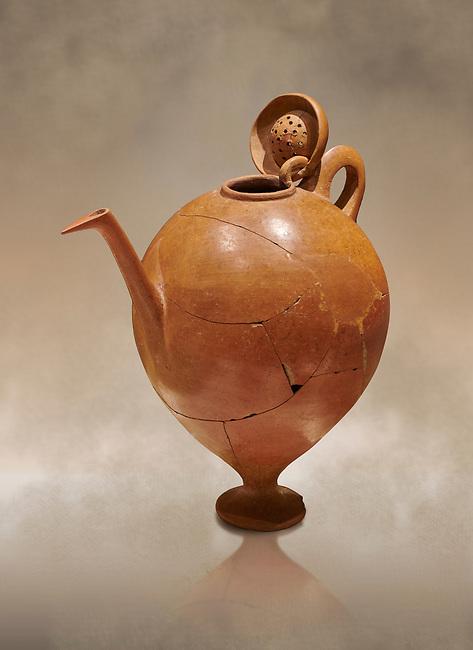 Terra cotta Hittite beaker shaped side spouted pitcher with lid - 1700 BC to 1500BC - Kültepe Kanesh - Museum of Anatolian Civilisations, Ankara, Turkey,  Against a warm art  background