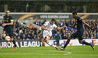 Erik Lamela of Tottenham Hotspur scores a goal to make it 2-0 during the UEFA Europa League group match between Tottenham Hotspur and Monaco at White Hart Lane, London, England on 10 December 2015. Photo by Andy Rowland.