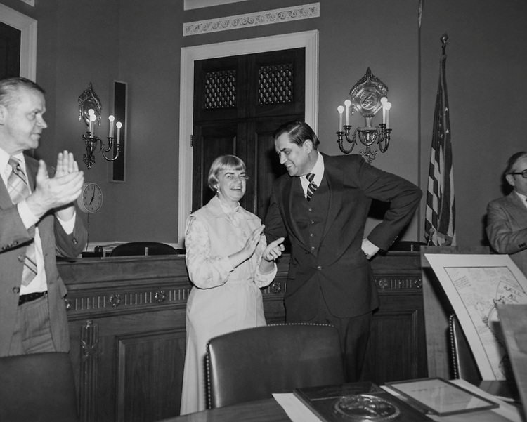 Congressional aide Hyde Murray along with his wife at Rayburn House Office Building, in 1989. (Photo by Laura Patterson/CQ Roll Call via Getty Images)
