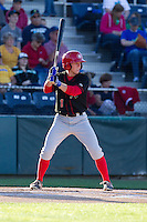 Andrew Guillotte (1) of the Vancouver Canadians at bat during a game against the Everett Aquasox at Everett Memorial Stadium in Everett, Washington on July 16, 2015.  Vancouver defeated Everett 5-4. (Ronnie Allen/Four Seam Images)