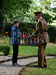 Cillian Brady presents a wreath to Colonel Max Walker on behalf of the British Ambassador at the Francis Ledwidge centenary commemerations at Ledwidge cottage Slane.  Photo:Colin Bell/pressphotos.ie