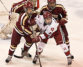 Dana Trivigno (BC - 8), Jillian Dempsey (Harvard - 14), Kaliya Johnson (BC - 6) - The Boston College Eagles defeated the Harvard University Crimson 2-1 in the opening game of the 2013 Beanpot on Tuesday, February 5, 2013, at Matthews Arena in Boston, Massachusetts.
