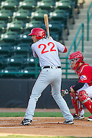 John Wooten (22) of the Hagerstown Suns at bat against the Hickory Crawdads at L.P. Frans Stadium on May 7, 2014 in Hickory, North Carolina.  The Suns defeated the Crawdads 4-2.  (Brian Westerholt/Four Seam Images)