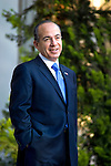 President Felipe Calderon at Los Pinos awaiting arrival of guest