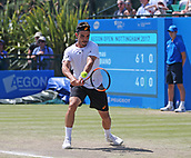 June 18th 2017, Nottingham, England; ATP Aegon Nottingham Open Tennis Tournament day 7 finals day;  Backhand from Thomas Fabbiano of Italy in his match against Dudi Sela of Israel