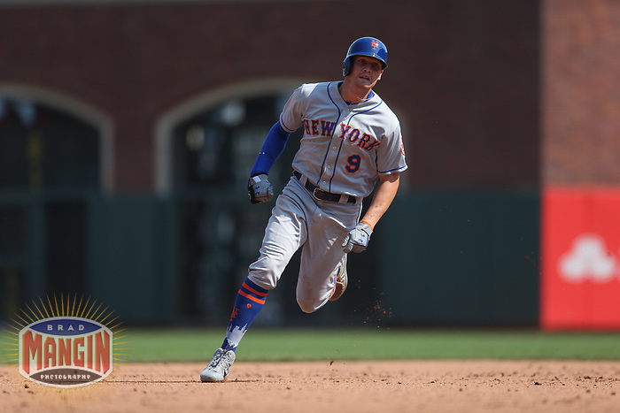 SAN FRANCISCO, CA - SEPTEMBER 2:  Brandon Nimmo #9 of the New York Mets runs the bases against the San Francisco Giants during the game at AT&T Park on Sunday, September 2, 2018 in San Francisco, California. (Photo by Brad Mangin)