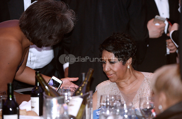 The &quot;Queen of Soul&quot; Aretha Franklin  attends the White House Correspondents' Association annual dinner on April 30, 2016 at the Washington Hilton hotel in Washington.This is President Obama's eighth and final White House Correspondents' Association dinner.<br /> Credit: Olivier Douliery / Pool via CNP/MediaPunch