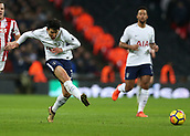 9th December 2017, Wembley Stadium, London England; EPL Premier League football, Tottenham Hotspur versus Stoke City; Son Heung-Min of Tottenham Hotspur passing the ball