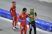 SCHAATSEN: HEERENVEEN: IJsstadion Thialf, 03-06-2013, training merkenteams op zomerijs, Gianni Romme (trainer), Koen Verweij, ©foto Martin de Jong