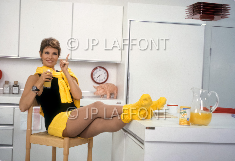New York, March, 1987. American actress Raquel Welch at home.