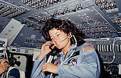 Seen on the flight deck of the space shuttle Challenger, astronaut Sally K. Ride, STS-7 mission specialist, became the first American woman in space on June 18, 1983. Dr. Ride passed away due to Pancreatic Cancer on Monday, July 23, 2012..Credit: NASA via CNP
