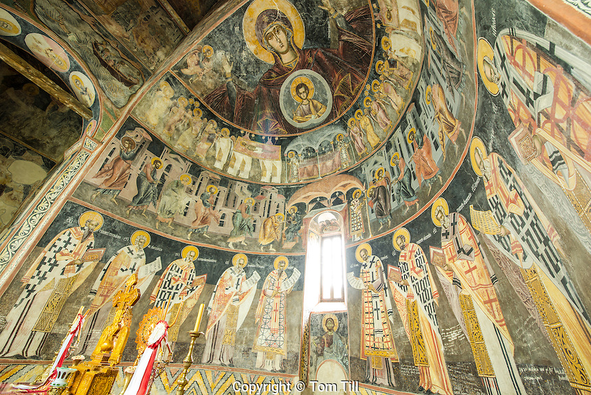 Interior and frescoes, Piva Monestary, Montenegro, Paintings by Longin and other artisans from 1600's.