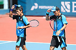 Taimei Marunaka &  €/Koichi Nagae (JPN), <br /> AUGUST 31, 2018 - Soft Tennis : <br /> Men's Team  Preliminary Round <br /> at Jakabaring Sport Center Tennis Courts <br /> during the 2018 Jakarta Palembang Asian Games <br /> in Palembang, Indonesia. <br /> (Photo by Yohei Osada/AFLO SPORT)