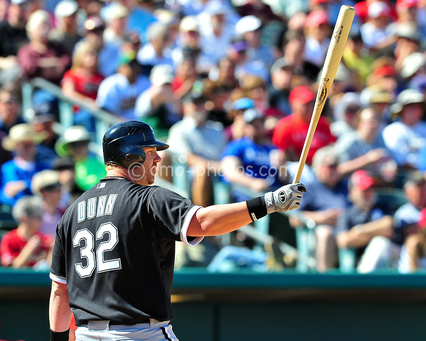 Mar 7, 2011; Tucson, AZ, USA; Chicago White Sox first baseman Adam Dunn (32) waits for a pitch in the 5th inning of a charity exhibition game against the Arizona Diamondbacks at the Kino Sports Complex.