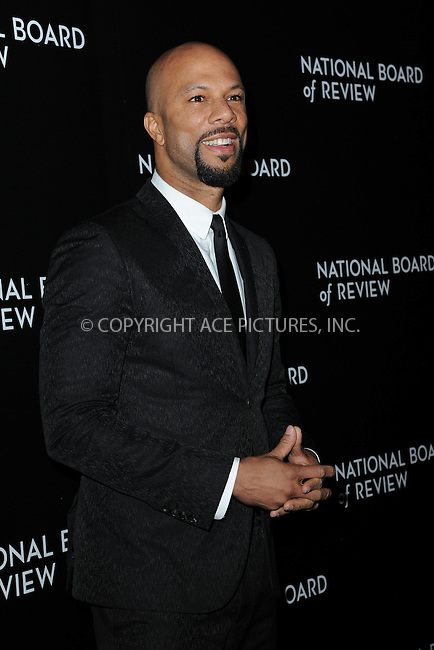 WWW.ACEPIXS.COM<br /> January 6, 2015 New York City<br /> <br /> Common attending the 2014 National Board of Review Gala at Cipriani 42nd Street on January 6, 2015 in New York City.<br /> <br /> Please byline: Kristin Callahan/AcePictures<br /> <br /> ACEPIXS.COM<br /> <br /> Tel: (212) 243 8787 or (646) 769 0430<br /> e-mail: info@acepixs.com<br /> web: http://www.acepixs.com