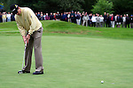 Justin Rose's putt slides by on the 18th hole of the third round of the BMW PGA Championship on the 26th of May 2007 at the Wentworth Golf Club, Surrey, England. (Photo by Manus O'Reilly/NEWSFILE)