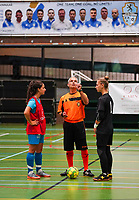 20190915– HALLE , BELGIUM : FP Halle-Gooik Girls B's captain Melinda Nuhiji, referee Gregory Petta and FP Halle-Gooik A's captain Nena Suet are pictured during coin toss at the beginning of the Belgian Women's Futsal D1 match between FP Halle-Gooik A and FP Halle-Gooik B on Sunday 15th 2019 at the De Bres Sport Complex in Halle, Belgium. PHOTO SPORTPIX.BE | Sevil Oktem