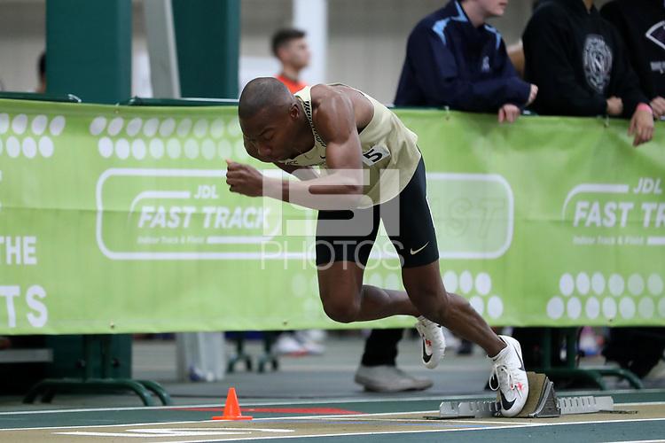 WINSTON-SALEM, NC - FEBRUARY 08: Kaleb Bryant #5 of Wake Forest University leaves the blocks in the Men's 400 Meters at JDL Fast Track on February 08, 2020 in Winston-Salem, North Carolina.