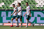 Jubel Milot Rashica (Werder Bremen #07), Yuya Osako (Werder Bremen #08), Marco Friedl (Werder Bremen #32)<br /> <br /> <br /> Sport: nphgm001: Fussball: 1. Bundesliga: Saison 19/20: 34. Spieltag: SV Werder Bremen vs 1.FC Koeln  27.06.2020<br /> <br /> Foto: gumzmedia/nordphoto/POOL <br /> <br /> DFL regulations prohibit any use of photographs as image sequences and/or quasi-video.<br /> EDITORIAL USE ONLY<br /> National and international News-Agencies OUT.