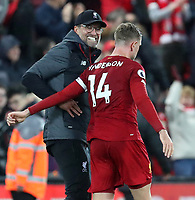 27th October 2019; Anfield, Liverpool, Merseyside, England; English Premier League Football, Liverpool versus Tottenham Hotspur; Liverpool manager Jurgen Klopp congratulates Jordan Henderson of Liverpool after the final whistle - Strictly Editorial Use Only. No use with unauthorized audio, video, data, fixture lists, club/league logos or 'live' services. Online in-match use limited to 120 images, no video emulation. No use in betting, games or single club/league/player publications