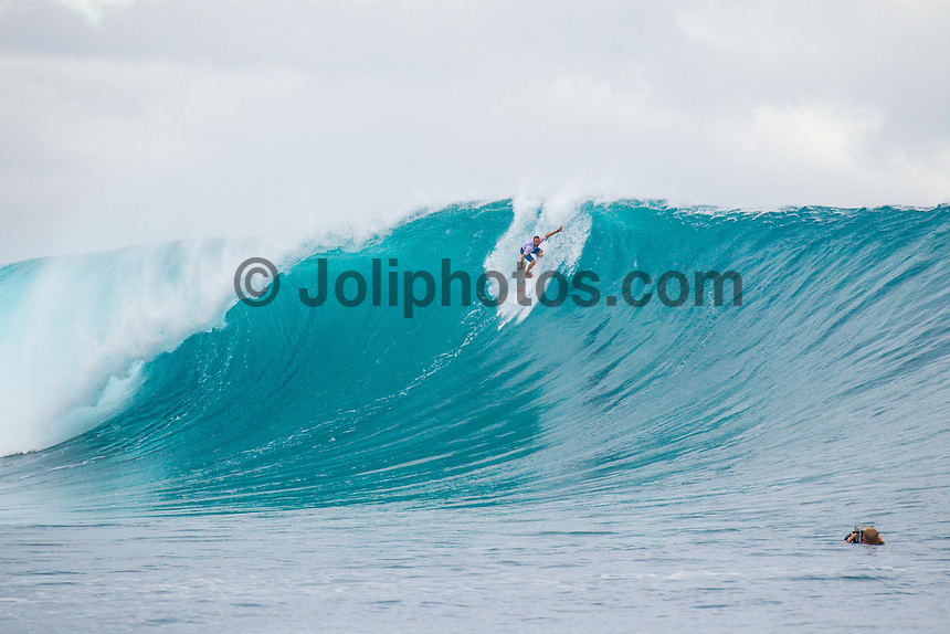 CLOUDBREAK, Tavarua/Fiji (Friday, June 8, 2012) CJ Hobgood (USA) riding one of Kelly Slater's big wave boards surfing on Filthy Friday. -  The best day of paddle surfing ever seen at Cloudbreak happen today with the swell in the12'-15' range from the south.  The surf pumped all day with amazing performances from of the world best big wave paddle in surfers. The Volcom Fiji Pro completed the last two heats of Round Two with Bede Durbidge and Kai Otten advancing before being call off for the day. Photo: joliphotos.com