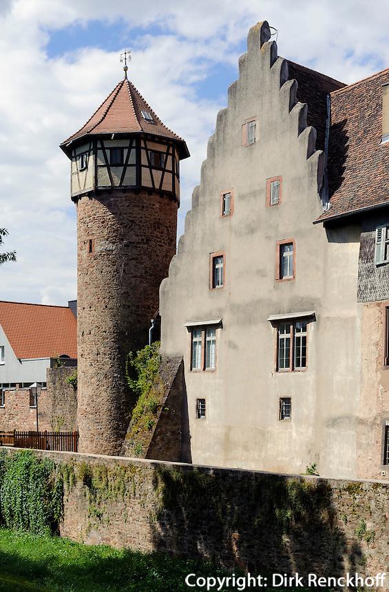 Diebsturm und Burg in Michelstadt im Odenwald, Hessen, Deutschland