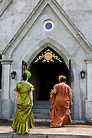 Women walking into the Royal Mausoleum at the annual Lei Day celebration