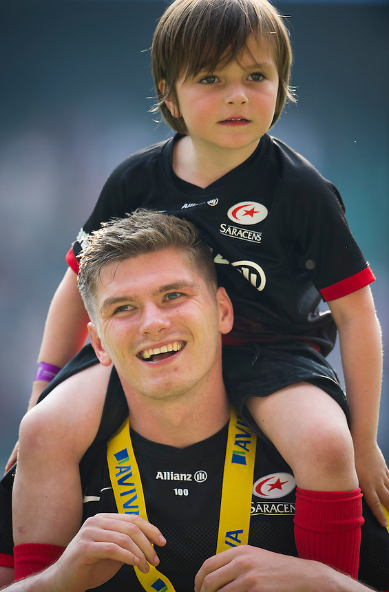 Owen Farrell of Saracens celebrates the Aviva Premiership Final victory over Exeter Chiefs<br /> <br /> Photographer Ashley Western/CameraSport<br /> <br /> Rugby Union - Aviva Premiership Final - Saracens v Exeter Chiefs - Saturday 28th May 2016 - Twickenham Stadium, Twickenham, London  <br /> <br /> World Copyright &copy; 2016 CameraSport. All rights reserved. 43 Linden Ave. Countesthorpe. Leicester. England. LE8 5PG - Tel: +44 (0) 116 277 4147 - admin@camerasport.com - www.camerasport.com