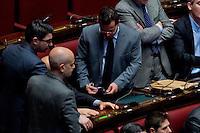 Roma, 6 Febbraio 2014<br /> Camera dei Deputati - Voto sul decreto legge 'Svuota carceri'<br /> Gianluca Buonanno Lega Nord con le manette