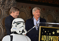 Mark Hamill &amp; Harrison Ford at the Hollywood Walk of Fame Star Ceremony honoring actor Mark Hamill, Los Angeles, USA 08 March 2018<br /> Picture: Paul Smith/Featureflash/SilverHub 0208 004 5359 sales@silverhubmedia.com