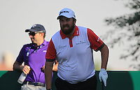 Shane Lowry (IRL) on the 18th tee during the preview for the DP World Tour Championship at the Earth course,  Jumeirah Golf Estates in Dubai, UAE,  18/11/2015.<br /> Picture: Golffile | Thos Caffrey<br /> <br /> All photo usage must carry mandatory copyright credit (&copy; Golffile | Thos Caffrey)