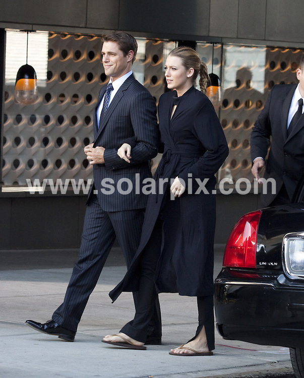 **ALL ROUND PICTURES FROM SOLARPIX.COM**.**SYNDICATION RIGHTS FOR UK, AUSTRALIA, DENMARK, PORTUGAL, S. AFRICA, SPAIN & DUBAI (U.A.E) & ASIA (EXCLUDING JAPAN) ONLY**.Gossip Girl Filming in the Meatpacking District in New York City, USA, 31 August 2010.This pic: Blake Lively and Sam Page .JOB REF: 12021     PHZ mayer    DATE: 31_08_2010.**MUST CREDIT SOLARPIX.COM OR DOUBLE FEE WILL BE CHARGED**.**MUST NOTIFY SOLARPIX OF ONLINE USAGE**.**CALL US ON: +34 952 811 768 or LOW RATE FROM UK 0844 617 7637**