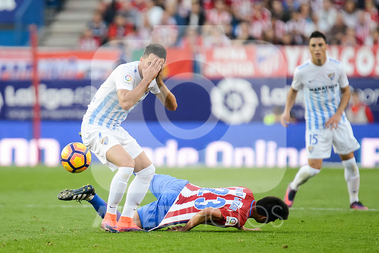"Atletico de Madrid's player Nico GaitánJuan Carlos ""Juankar"" Perez and Malaga CF XXX during a match of La Liga Santander at Vicente Calderon Stadium in Madrid. October 29, Spain. 2016. (ALTERPHOTOS/BorjaB.Hojas)"