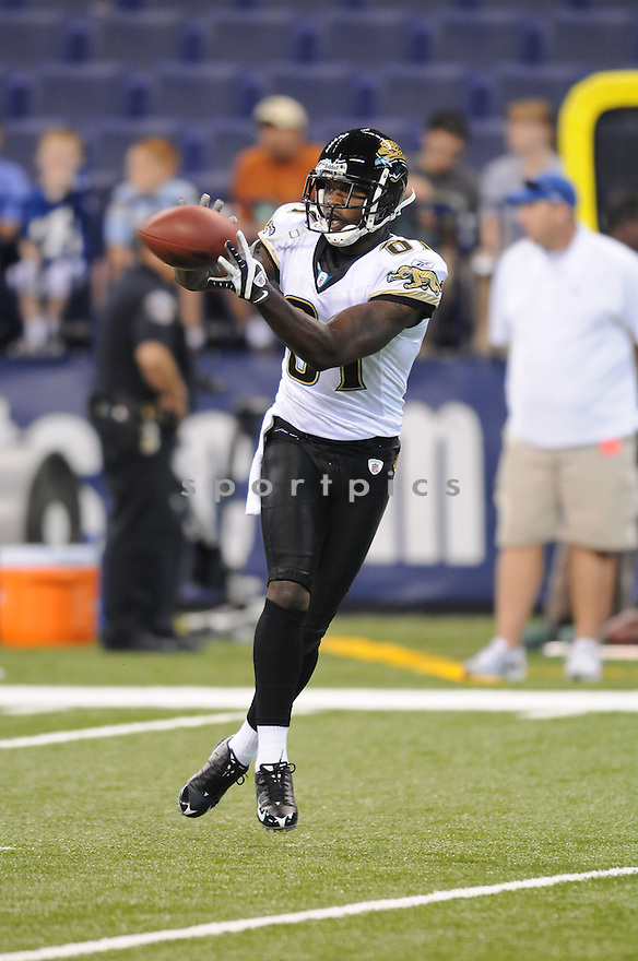 MIKE WALLER, of the Jacksonville Jaguars, in action during the Jaguars game against the Indianapolis Colts on September 21, 2008 in Indianapolis, Indiana...The Jacksonville Jaguars win 23-21