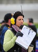 Oct. 3, 2009; Kansas City, KS, USA; Television personality Wendy Venturini during qualifying for the Kansas Lottery 300 at Kansas Speedway. Mandatory Credit: Mark J. Rebilas-