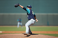 Lynchburg Hillcats relief pitcher Aaron Pinto (4) in action against the Winston-Salem Rayados at BB&T Ballpark on June 23, 2019 in Winston-Salem, North Carolina. The Hillcats defeated the Rayados 12-9 in 11 innings. (Brian Westerholt/Four Seam Images)