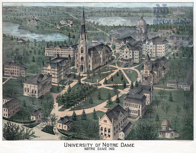 GUND mapcase 2/01:  Engraving of Campus, c1893..Image from the University of Notre Dame Archives.