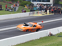 Jun 9, 2019; Topeka, KS, USA; NHRA pro mod driver Jeremy Ray loses control prior to crashing into the wall during the Heartland Nationals at Heartland Motorsports Park. Ray would be transported to a local hospital for evaluation. Mandatory Credit: Mark J. Rebilas-USA TODAY Sports