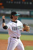 Coastal Carolina Chanticleers infielder Rich Witten #21 in the field during a game against the University of Pittsburgh Panthers at Watson Stadium at Vrooman Field on March 2, 2012 in Conway, SC.  Pittsburgh defeated Coastal Carolina 3-1. (Robert Gurganus/Four Seam Images)