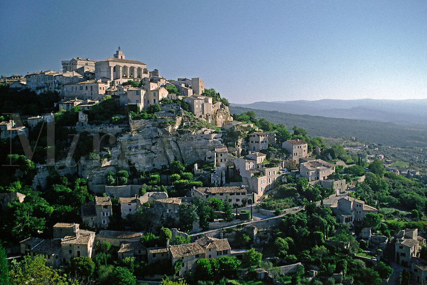 The village of GORDES sits dramatically on top of a hill - PROVENCE, FRANCE