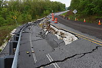 Travelers should be careful where part of the highway has caved in. The route remains passable along one lane.<br />